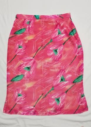 Юбка розовая с ярким принтом шифоновая