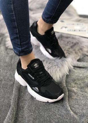 Крутые замшевые кроссовки adidas falcone в черном цвете (весна-лето-осень)😍