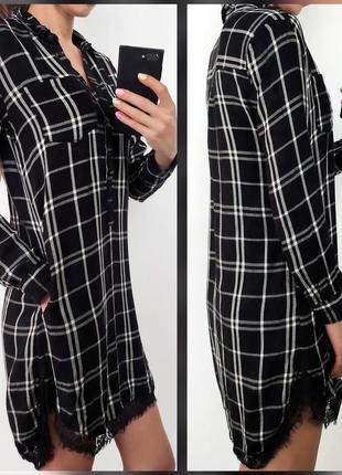 Платье рубашка в клетку с гипюром