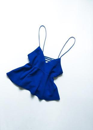 Очень красивый топ свободный синий с красивой спинкой