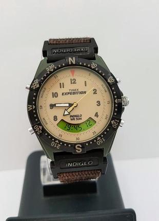 Часы timex expedition, двойные, подсветка, будильник, таймер. сша.