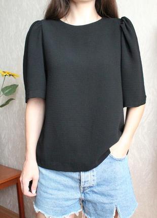 Черная плотная блуза с коротким рукавом размер л 40 h&m черная футболка