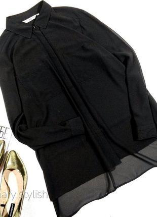Черная шифоновая тонкая блузка new look