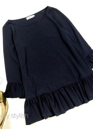Синяя красивая блузка с воланами, креп-шифон