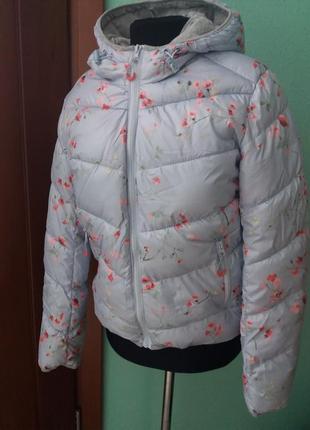 Куртка fb sister пуфер дутая деми 2019 цветочек м