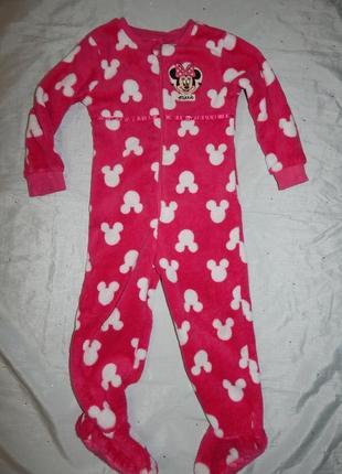 Пижама плюшевая слип человечек на девочку 4-5 лет 104-110см