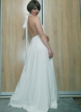 Бомбезное белое струящееся платье-ромпер с открытой сексуальной спинкой италия