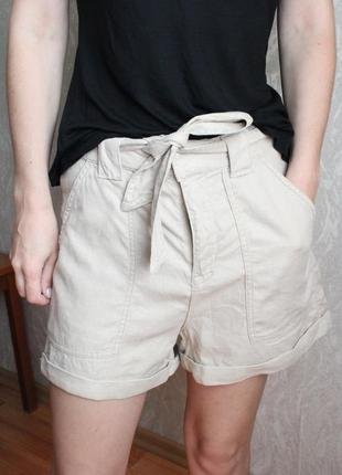 Трендовые льяные шорты 36 с размер h&m
