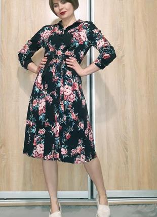Красивейшее платье миди на пуговичках в цветочный принт из вискозы promod2 фото