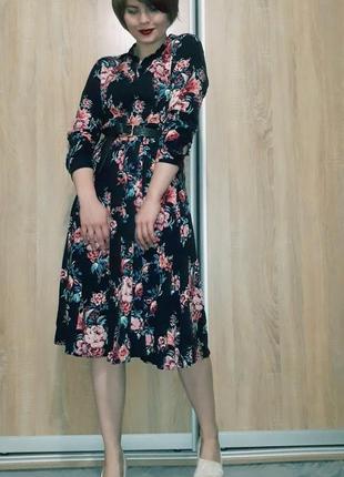 Красивейшее платье миди на пуговичках в цветочный принт из вискозы promod5 фото