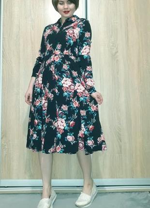 Красивейшее платье миди на пуговичках в цветочный принт из вискозы promod6 фото