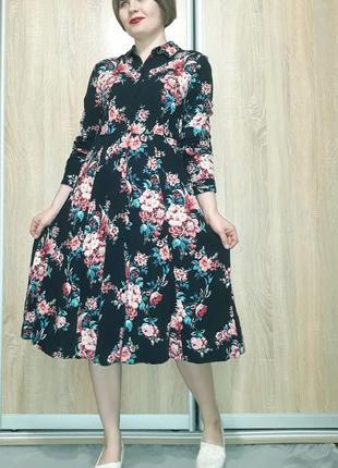 Красивейшее платье миди на пуговичках в цветочный принт из вискозы promod8 фото
