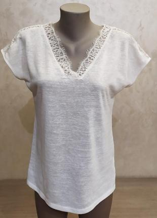 Красивая белая футболка с кружевом next.