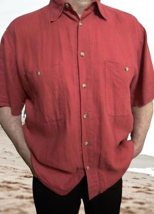 Льняная коралловая рубашка pikdor lineauomo, большой размер
