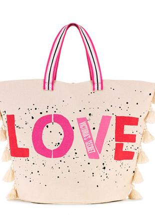 Пляжная сумка victoria's secret оригинал, шоппер вместительная сумка виктория сикрет