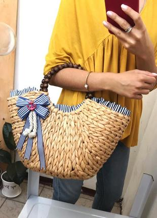 Нереальная плетёная ,соломенная сумка с деревянными ручками