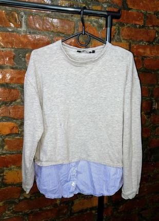 Стильный демисезонный свитшот двойка с низом рубашкой