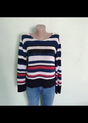 Стильный полосатый акриловый свитер джемпер. р-р m