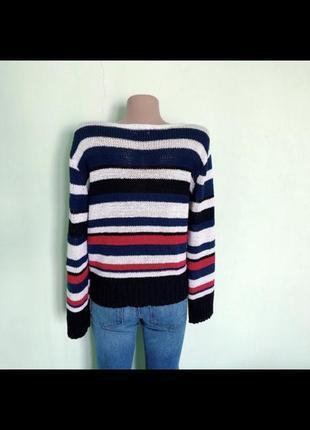 Стильный полосатый акриловый свитер джемпер. р-р m3 фото