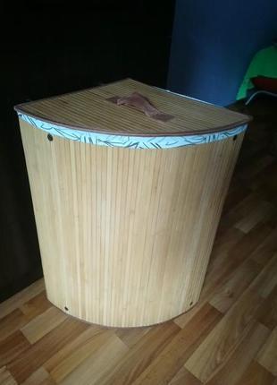 Угловая корзина для вещей/белья/игрушек из бамбука, складная