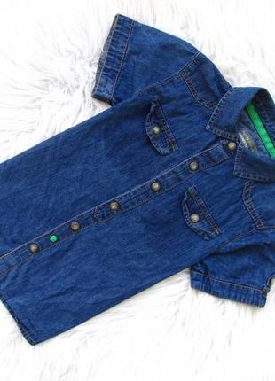 Стильная  джинсовая рубашка с коротким рукавом orchestra