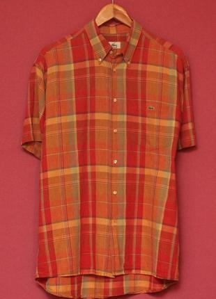 Lacoste 42 l-xl linen cotton shirt рубашка хлопок+лён