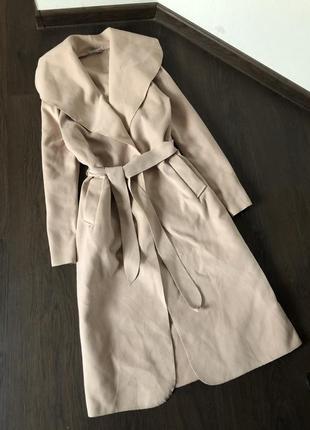 Легкое пальто халат под пояс длина миди