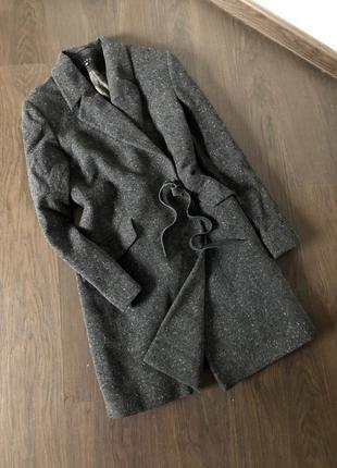 Пальто бойфренд с замшевыми завязками