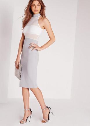 Нарядное вечернее платье с прозрачным верхом и чокером - 20% скидка!