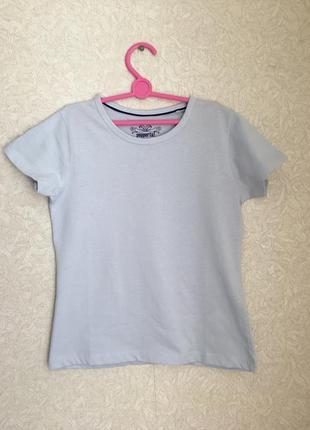 Отличная голубая хлопковая футболка на девочку 7-8 лет. германия