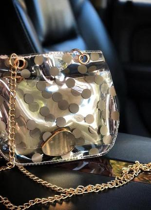 Прозрачная силиконовая сумка кросс-боди в горошек