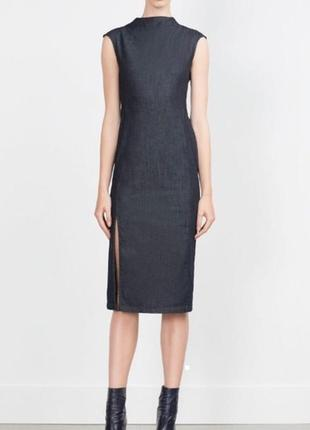 Стильное джинсовое платье-футляр под горло - 30% скидка!