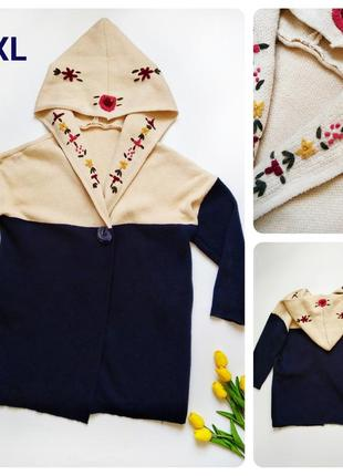 Шерстяная кофта с капюшоном с вышивкой й