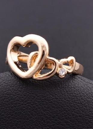 Позолоченное кольцо сердце, 18 р., новое! арт 8021