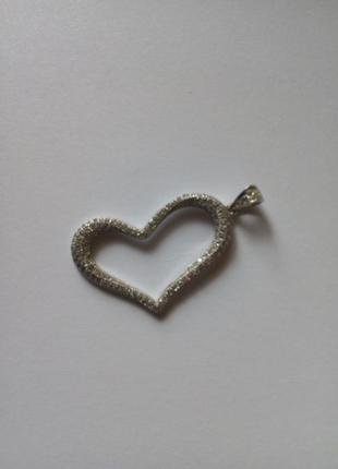 Подвеска сердце с розсыпью камней серебро 925.