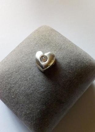 Подвеска сердце на цепочку или браслет серебро 925.