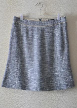 Меланжевая юбка трапеция р. s-m хлопок вискоза лён max mara