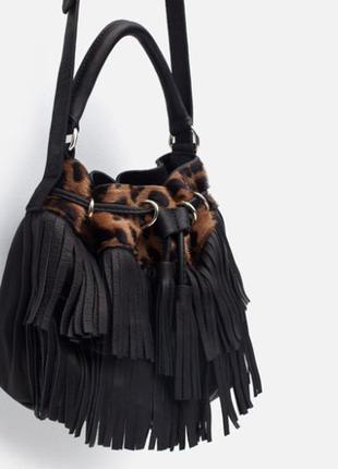 Zara натуральная кожа+мех небольшая сумочка-бочонок с бахромой