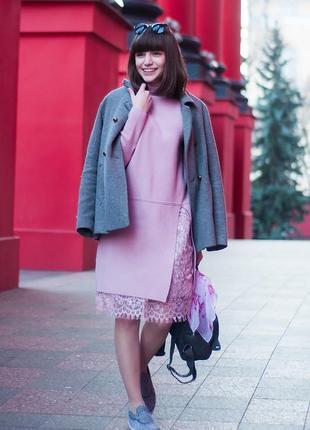 Прямое платье-свитер romwe с кружевом, размер s