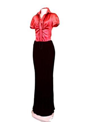 Эксклюзивная черная шерстяная юбка в пол ручной работы, универсальный размер.