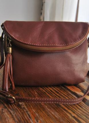 Кожаная сумка кроссбоди vera pelle / шкіряна сумка