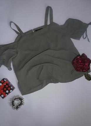 Блузка-топ с открытыми плечиками цвета хаки new look