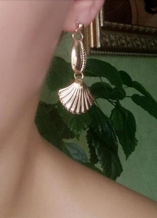 Серьги ракушки ракушка каури ракушки сережки золото3 фото
