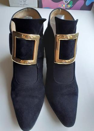 Туфли ботильоны замшевые кожаные с пряжкой