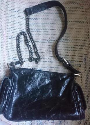 Кожаная сумочка 27*15 дл.ручка-цепочка 114см(код 319)