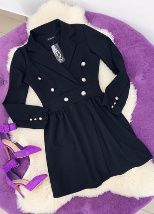 Стильное черное платье пиджак в наличии стрейчкреп