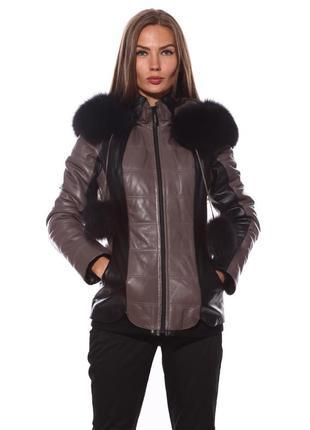 Кожаный пуховик, курточка  fabio monti