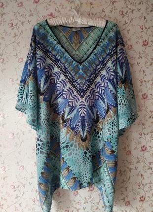 Натуральная роскошная блуза туника накидка