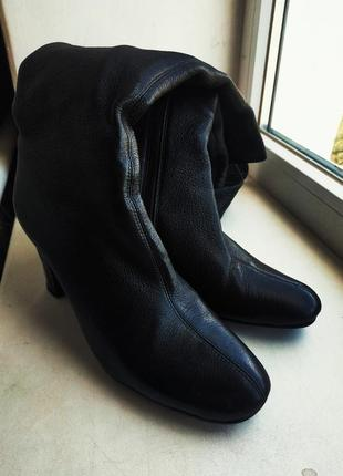 Сапоги черные кожаные