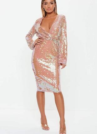 Крутое платье в паейтках от missguided (бежевое)